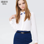 Linda 2015 spring new Qing bi female simple stitching sequins decorated slim versatile solid color shirt lapel shirt