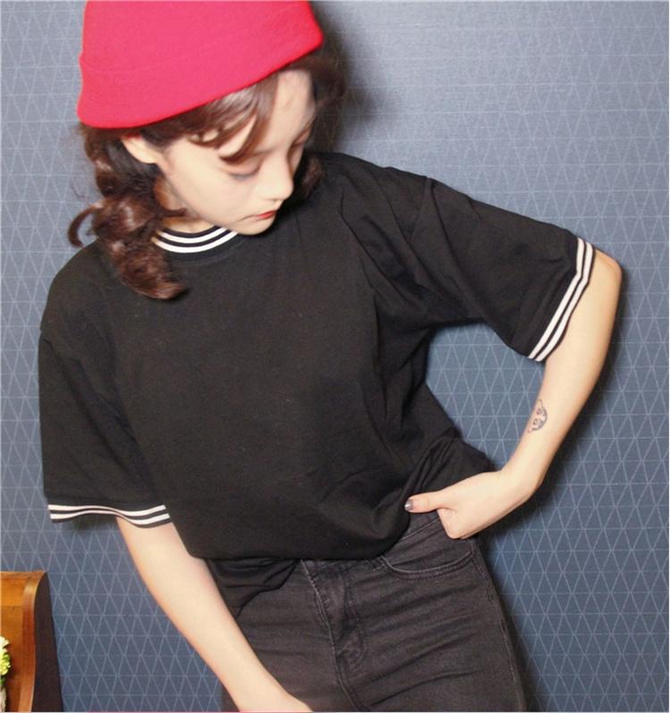 韩国ulzzang短袖体恤女学生半袖上衣服潮韩范百搭夏季五分袖t恤衫