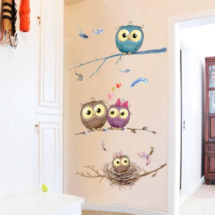 墙贴纸创意猫头鹰墙纸自粘卧室温馨小清新墙壁房间装饰品墙上贴画
