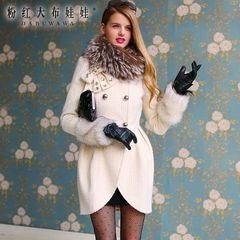Wool coat women pink doll winter white/stone bow slim long woolen coat