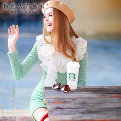 2015 spring dress big pink doll new women's dress skirt long sleeve at the end of a Word