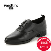 West fall 2015 the New England leather carved pointed laced shoes deep rough and casual women's tide