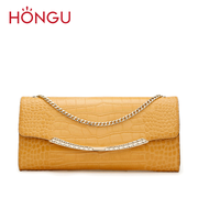 Honggu red Valley counters authentic western leather shoulder hand bag crocodile grain chain handbag 2308