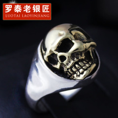 Gold-domineering male skull ring Silver 925 Silver European tide spirit head skull ring