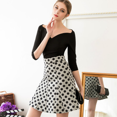 Europe and the new spring/summer retro wave print slim elegant fishtail skirt high waist skirt a pencil skirt 9273