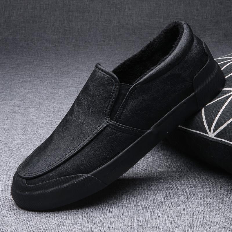 棉鞋男冬季保暖加绒一脚蹬男鞋学生韩版潮鞋子男士休闲小皮鞋二棉