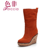 Non genuine leather round winter new counters wedges boots shoes WGD6A7909C