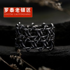 Chandos s925 silver braided Pentagram Ring opening old silversmith retro Thai silver couple rings ring jewelry