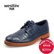 West-fall 2015 new business leather shoes fashion casual faux crocodile pattern leather men's round head straps low cut shoes