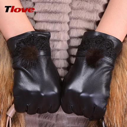 羊皮手套女士保暖触屏手套女短款水貂毛真皮手套女冬加绒加厚韩版