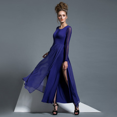 Spring and autumn in Europe and America with see-through mesh long sleeve slim Tencel skirt chiffon side-slit dresses 9158