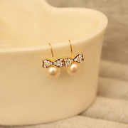 Cool na imitation pearls Korean jewelry earrings set chic rhinestone bow earrings earring female 2112