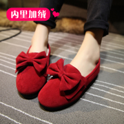 2015 winter season new bow bean shoes, thick-soled shoes and cotton scoop shoes flat shoes with students at the end of the tide