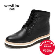 Westlink/West 2015 winter New England casual leather lace short tube Martin boots men's boots