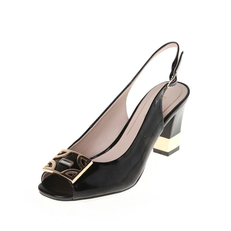 Daphne/达芙妮凉鞋女鞋OL金属扣优雅水钻鱼嘴粗跟凉鞋1014303007