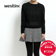 Westlink/West 2015 winter new long sleeve in hollow perspective heads loose casual sweater