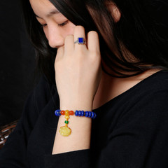 Bao Crystal strong money natural lapis lazuli Beads Bracelet ladies waxing Lotus-shaped engraved bracelets clearance