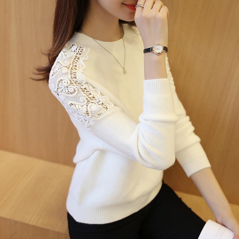 新款秋装女装韩版镂空针织衫女套头蝙蝠袖袖秋季宽松针织毛衣外套