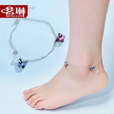 茗琳925银饰施华洛世奇水晶彩蝶脚链 女 韩版 简约饰品 礼物