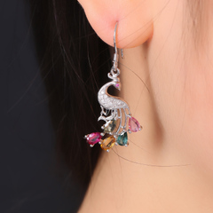 Precious natural tourmaline Crystal inlaid earring/earrings fashion design Joker women''s brilliant run set one