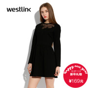 West-fall 2015 perspective of new European and American fashion casual collar stars stitching women's long sleeve dress