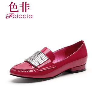 Faiccia/non fall 2015 drill limited edition genuine cow leather TOU Shui new counters chunky heels shoes 48