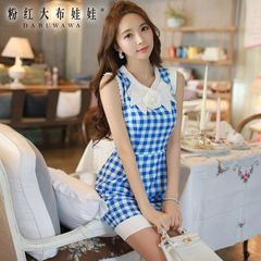 Dresses and skirts in summer pink doll 2015 Lady new sleeveless Plaid tide slim bag hip dress