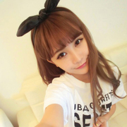 Email Korea cortical folding black bunny ears headband hair tiara headband jewelry Butterfly first hoop girls