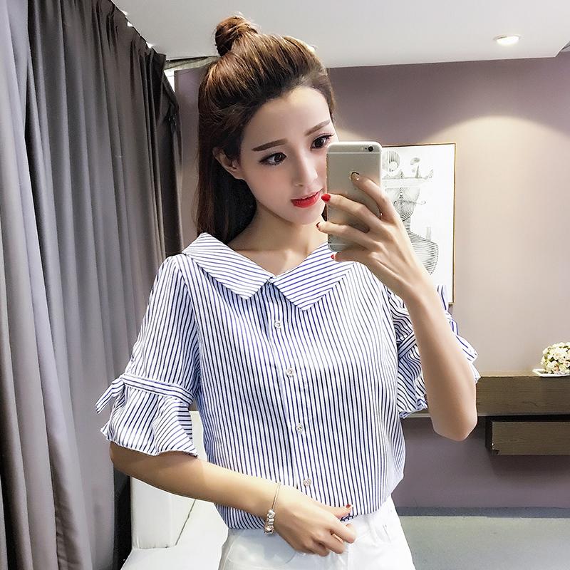 不规则V领衬衫女2017夏装新款韩版条纹显瘦喇叭袖短袖上衣衬衣女