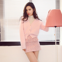 QUEENZZ Europe and the socialite winds 2015 new delicate button-wild rabbit fur knitted sweater Cardigan #