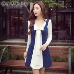 Autumn big pink strap dress doll fall 2015 women's newest bow slim dress