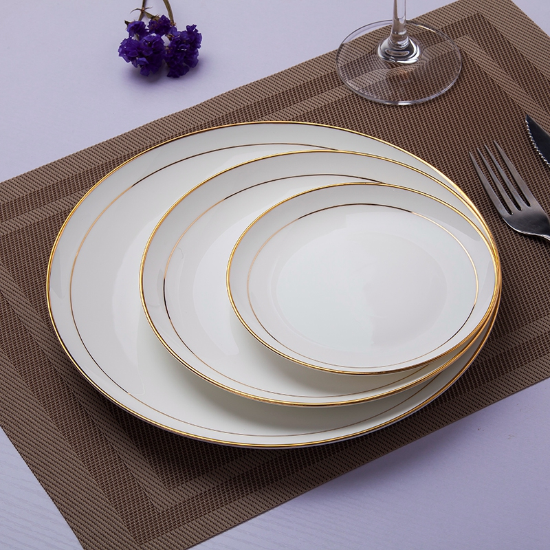 景德镇西餐盘套装意面盘骨瓷平盘点心盘圆盘碟子纯白色金边牛排盘
