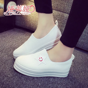 2015 a pedal lazy autumn white canvas shoes women shoes Korean students Le Fu, thick-soled shoes white shoes, platform
