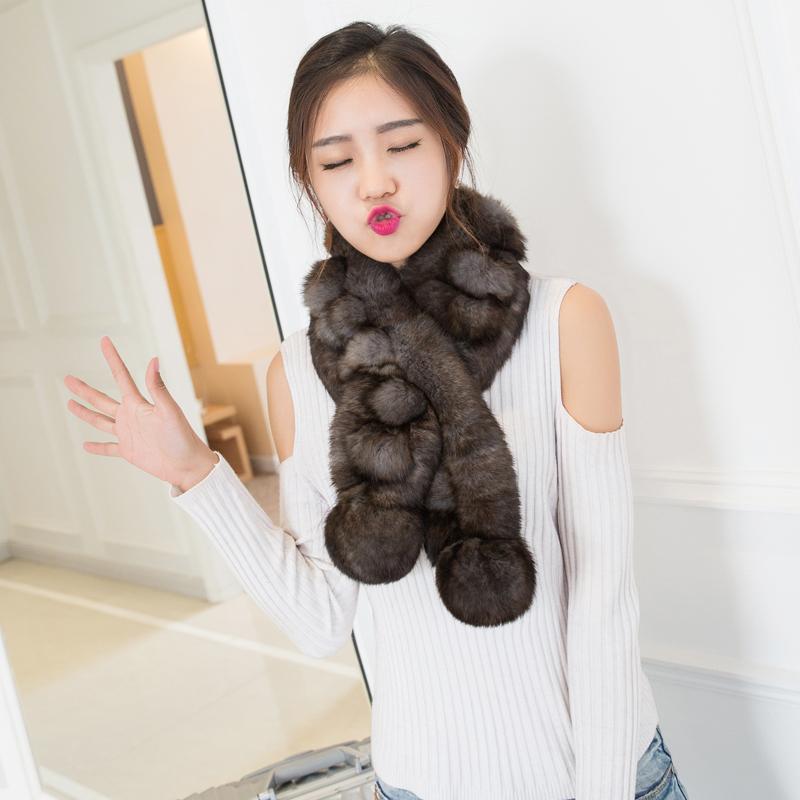 毛绒獭兔毛围巾女士秋冬季韩版百搭加厚披肩皮草围脖套头保暖防寒