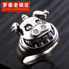 925 Silver jewelry vintage personality tide pig Thai silver ring men''s aggressive new exaggerated punk silver ring