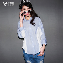 Seven space space OTHERMIX2015 spring new contrast color stitching loose long sleeve shirts women