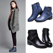 Strange love of spring and autumn Martin boots women short flashes, leather leather ankle boots boots boots boots with rivets in Europe