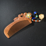Thai silver cloisonne 925 natural Walnut Walnut comb Hair Combs carved roses fashion new woman