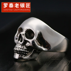 925 Silver jewelry men''s index finger index finger wave Gothic Rock skull ring hip hop rings