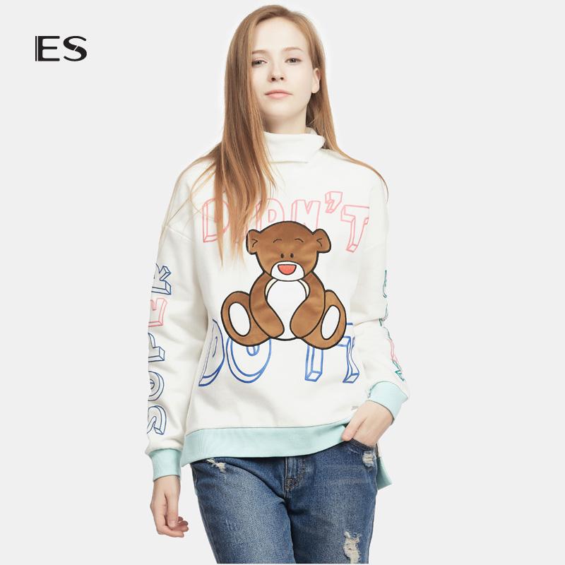 艾格 ES 2016  冬新品可爱个性印花高领卫衣160328714