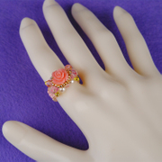 Handmade beaded jewelry DIY kit Austria imported crystal rose ring ring ring