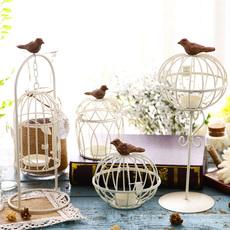 欧式复古创意鸟笼铁艺烛台摆件家居客厅软装饰品摆设蜡烛台工艺品