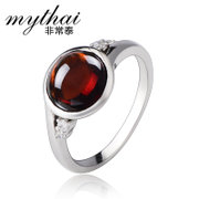 Thai Thai silver jewelry 925 Silver Korean fashion stylish retro red zircon ring rings women