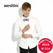 2015 West autumn Korean leisure fashion bow print blouse long sleeves cotton men's shirts slim