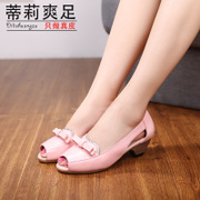 Tilly cool foot 2015 new summer with elegant leather rhinestone bow low side air-casual fish sandals