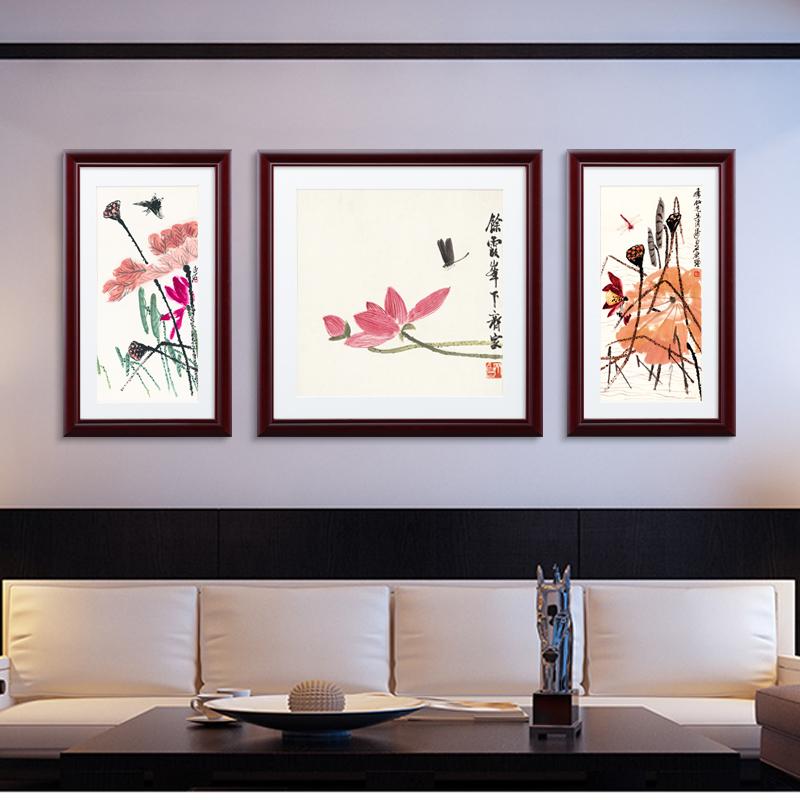 腾画现代客厅装饰画齐白石中式花卉餐厅卧室三联沙发背景墙壁挂画