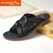 Red Dragonfly genuine leather men''s slippers 2015 summer styles casual and comfortable non-slip breathable leather men''s shoes