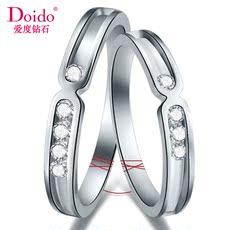 爱度钻石Doido钻石对戒白18K金钻戒情侣结婚戒指正品一生一世