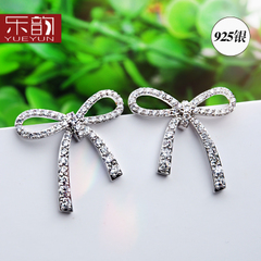 New 925 Tremella decorated Korea temperament micro-inlay bowknot fashion earrings