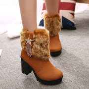 2015 new Europe in winter and down booties women's boots high platform chunky heels shoes fur winter boots with round head boom